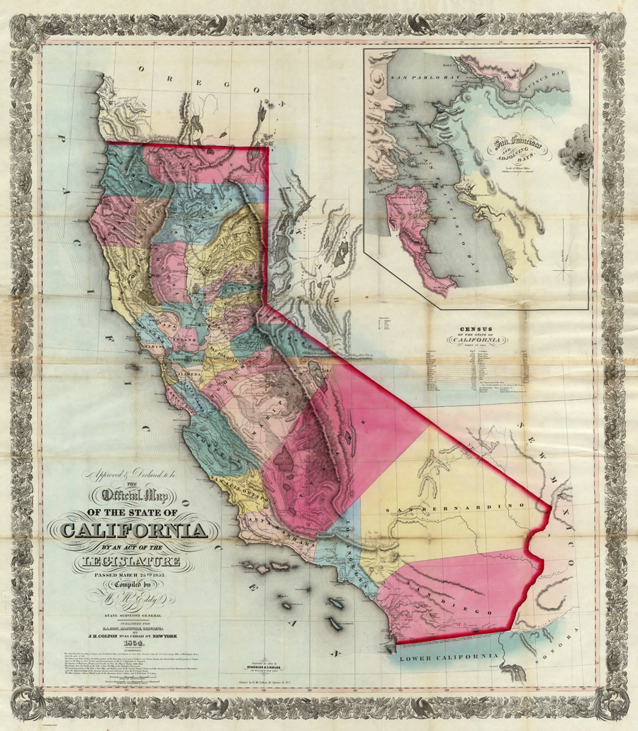 Map of the State of California by Surveyor General William M. Eddy.