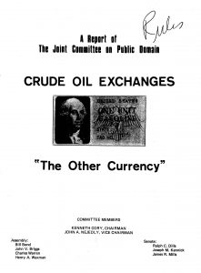 Cover of the 1974 report on crude oil exchanges