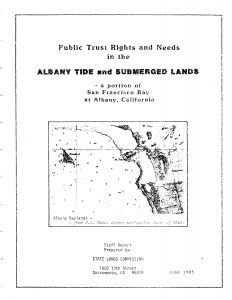 Cover of the 1985 Albany Tide and Submerged Lands Report