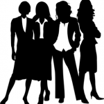silhouette image of four women in business suites