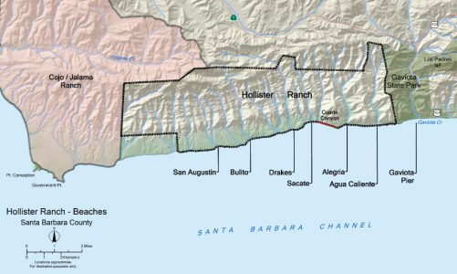 Topographic map of the beaches of Hollister Ranch on the Santa Barbara Channel